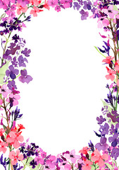 Hand drawn watercolor square frame with meadow small pink flowers and herbs on white background. Design for cards, invitations, flyers.