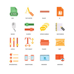 16 icons related to Browser, Smartphone, Infographics, Map, Css, Mouse, Levels, Speech bubble, undefined, undefined signs. Vector illustration isolated on white background.