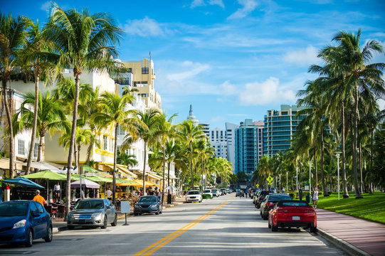 Scenic morning view of a beachside street in Florida, USA