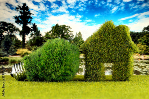 Green eco light bulb and eco house icon concept with grass