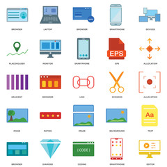25 icons related to Editor, Smartphone, Coding, Diamond, Browser, Allocation, Scissors, Image, Placeholder, Laptop signs. Vector illustration isolated on white background.