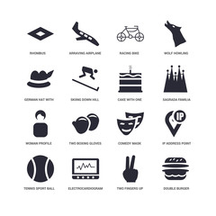 16 icons related to undefined, Two fingers up, Rhombus, Tennis Sport ball, IP address point locator, Comedy mask, Racing bike signs. Vector illustration isolated on white background.