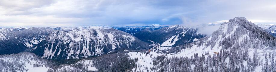 Stevens Pass WA Aerial Panoramic View Winter Mountains