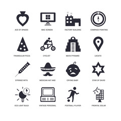 16 icons related to Frontal solar panel, cyclist, Ace of Spades, undefined, Star David, Mexican hat and mustache, Mac Screen signs. Vector illustration isolated on white background.