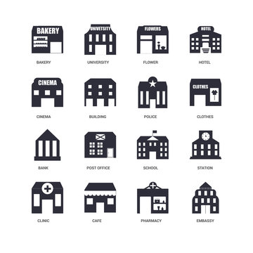 16 icons related to Embassy, Pharmacy, Cafe, Clinic, Station, Bakery, Cinema, Bank, Police, undefined, undefined signs. Vector illustration isolated on white background.