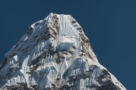 The snowy peak of Mount Ama Dablam, one of the most beautiful mountains in the world. Nepal