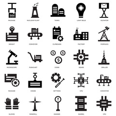 25 icons related to Cpu, Barrel, Danger, Windmill, Gloves, Pumpjack, Gears, Settings, Package, Weight, Tanks, Nuclear plant signs. Vector illustration isolated on white background.