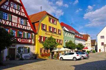 die Stadt Aub in Deutschland, viele Fachwerkhäuser - the town Aub in Germany