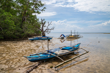 Seashore at Bohol island with low tide and old fisherman boats front view. Philippines.