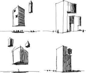 four hand drawn architectectural sketches of a modern abstract architecture and futuristic flying and levitating building
