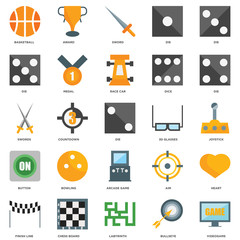 25 icons related to Videogame, Bullseye, Labyrinth, Chess board, Finish line, Die, 3d glasses, Arcade game, Button, Sword, Award signs. Vector illustration isolated on white background.