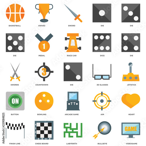 25 icons related to Videogame, Bullseye, Labyrinth, Chess board