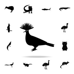 Crowned pigeon icon. Detailed set of Australian animal silhouette icons. Premium graphic design. One of the collection icons for websites, web design, mobile app