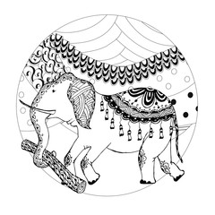 Elephant on hill monochrome zentangle style sketch circle design element stock vector illustration for web, for print