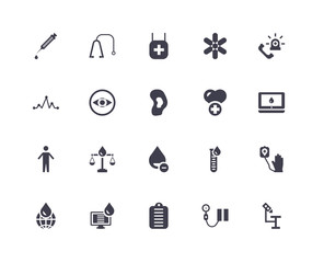 20 icons related to Microscope, Blood pressure, File, Computer, Global, Emergency, Health care, Blood, Arms, Eye, Pharmacy signs. Vector illustration isolated on white background.