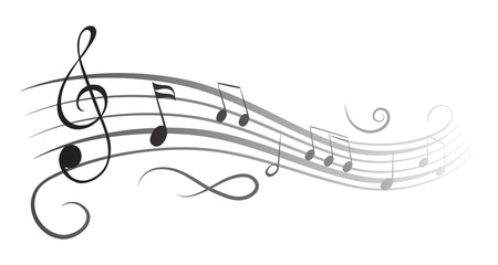 Music notes wave, black group musical notes – for stock
