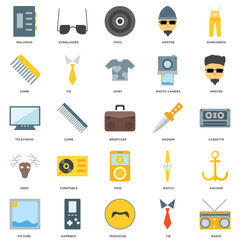 25 icons related to Radio, Tie, Mustache, Gameboy, Picture, Hipster, Dagger, Ipod, Deer, Comb, Vinyl, Sunglasses signs. Vector illustration isolated on white background.