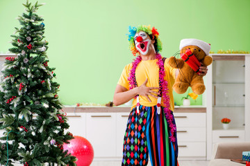Wall Murals South America Country Funny clown in Christmas celebration concept