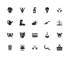Set Of 20 icons such as Basket, Sickle, Fork, Fountain, Bird house, Rake, Trowel, Fence, Butterfly, Boots, Sprayer, icon pack