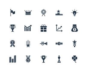 Set Of 20 icons such as Clover, Oscar, Cup, Award, Graph, Idea,