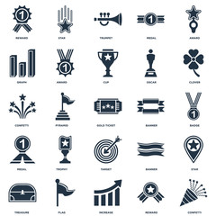 Set Of 25 icons such as Confetti, Reward, Increase, Flag, Treasure, Clover, Banner, Target, Medal, Graph, Trumpet, Star icon