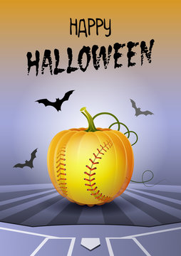 Happy Halloween. Sports greeting card. Realistic softball ball in the shape of a Pumpkin. Vector illustration.