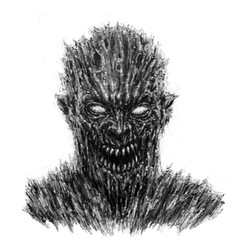Angry zombie face on white background. Drawing monster character. Illustration in horror genre.