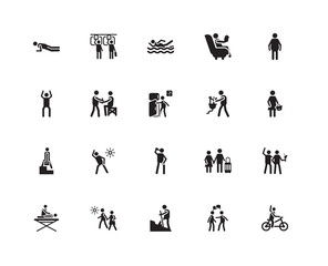 Simple Set of 20 Vector Icon. Contains such Icons as Bicycle, Shopper, Overweight, Reading, Massage, Public transport, Vacations, Exercise. Editable Stroke pixel perfect