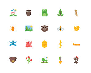 Set Of 20 icons such as Bird house, Plant, Trees, Flowers, Bear,