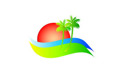 a logo for beach vacation in vibrant colors
