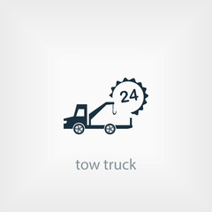 car tow service, 24 hours, truck , solated icon, auto service, car repair