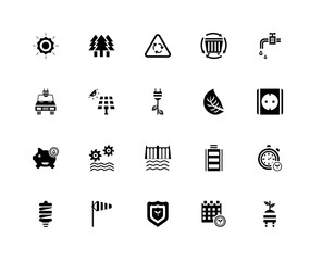 20 icons related to energy, Calendar, Ecology, Windsock, Lightbulb, Faucet, Leaf, Dam, Save water, Solar panel, Recycling signs. Vector illustration isolated on white background.