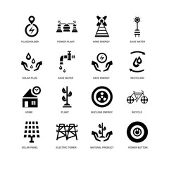 16 icons related to Power button, Save water, Placeholder, undefined, Bicycle, Plant, plant signs. Vector illustration isolated on white background.