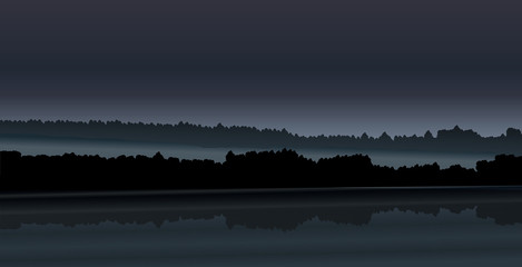 Abstract blue vector illustration - night foggy landscape