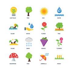 Set Of 16 icons such as Wheat, Umbrella, Tree, Mushroom, Flowers