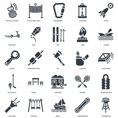 Simple Set of 25 Vector Icon. Contains such Icons as Barbacue, Snowboard, Boat, Swings, Lantern, Canoe, Lighter, Caravan, Golf ball, Scooter, Carabiner, Volleyball net. Editable Stroke pixel perfect