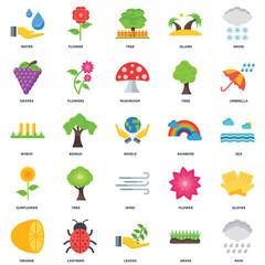 Set Of 25 icons such as Rain, Grass, Leaves, Ladybird, Orange, Umbrella, Rainbow, Wind, Sunflower, Grapes, Tree, Flower icon