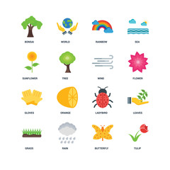 Set Of 16 icons such as Tulip, Butterfly, Rain, Grass, Leaves, B
