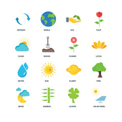 Set Of 16 icons such as Solar panel, Clover, Bamboo, Moon, Tree,