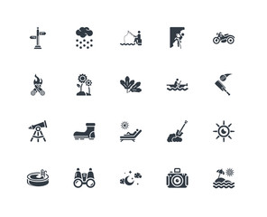 Simple Set of 20 Vector Icon. Contains such Icons as Sun umbrella, Cricket, Motorbike, Climbing, Swimming pool, Snow, Shovel, Bonfire. Editable Stroke pixel perfect