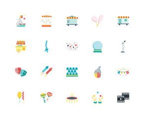 Simple Set of 20 Vector Icon. Contains such Icons as Film, Microphone, Trailer, Cotton candy, Balloons, Carousel, Seal, Food stand. Editable Stroke pixel perfect