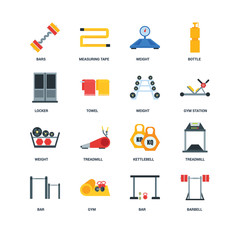 Set Of 16 icons such as Barbell, Bar, Gym, Treadmill, Bars, Locker, Weight, Weight icon