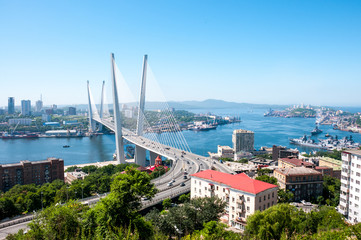 Foto auf Leinwand Pool Russia, Vladivostok, July 2018: View of Golden Bridge over Golden Horn Bay of Vladivostok