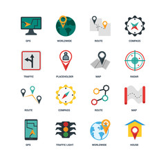 Set Of 16 icons such as House, Worldwide, Traffic light, Gps, Map, Traffic, Route, Map icon