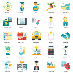 Simple Set of 25 Vector Icon. Contains such Icons as Drama, Computer, Graduate, Language, Telescope, Student, Magnet, Study, Globe, Photography, As, Graduate. Editable Stroke pixel perfect