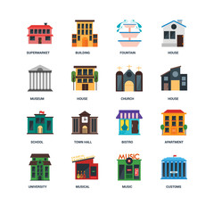 Set Of 16 icons such as Customs, Music, Musical, University, Apartment, Supermarket, Museum, School, Church icon