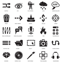 Simple Set of 25 Vector Icon. Contains such Icons as Headphones, Mathematical operations, Target, Eye, Diamond, Right Arrow, Camera, Music controller. Editable Stroke pixel perfect
