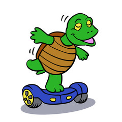 Funny turtle riding a hoverboard