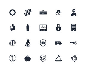 Set Of 20 icons such as Moving insurance, Auction, Medical Piggy bank, Insurance, Terrorist, Padlock, Scale, Coffin, First aid kit, icon pack