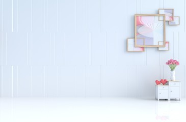 White empty room of love decor with cement wall,tiles,bedside table,picture frame, Tulip in glass vase. Valentine's day and new year. 3D render.
